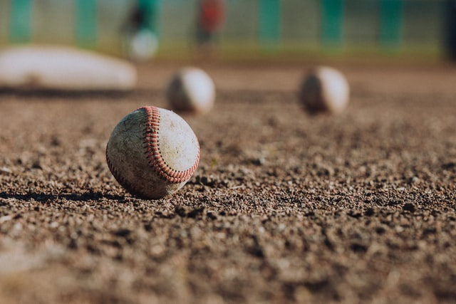 history of baseball with image of scattered ball